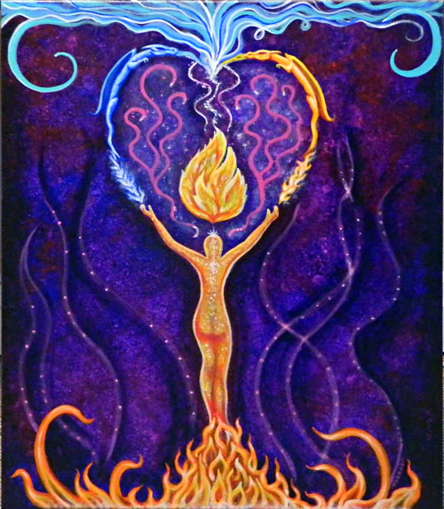 Commissioned Reiki Painting - I Am Holy Fire - By Pete Taboada