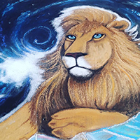 Chalk Art Festival – Painted A Cosmic Lion As A Pro Chalk Artist